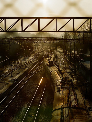 morning train sunrise canon fence europe track kodak ae1 ukraine kiev ae
