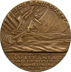 Lusitania medal reverse