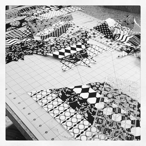 Cutting black and white triangles for another Spider and Webs quilt!