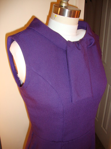 New Look 6968 still in progress, now with one bound armhole and neck facings