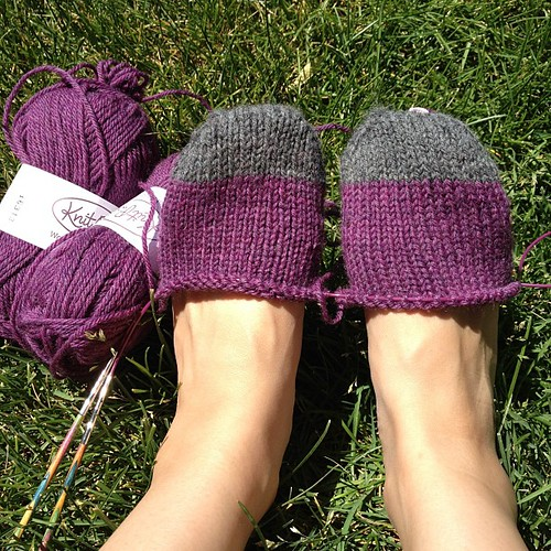 Worsted weight socks on the needles today. They will be my first short row heel/no gusset pair.