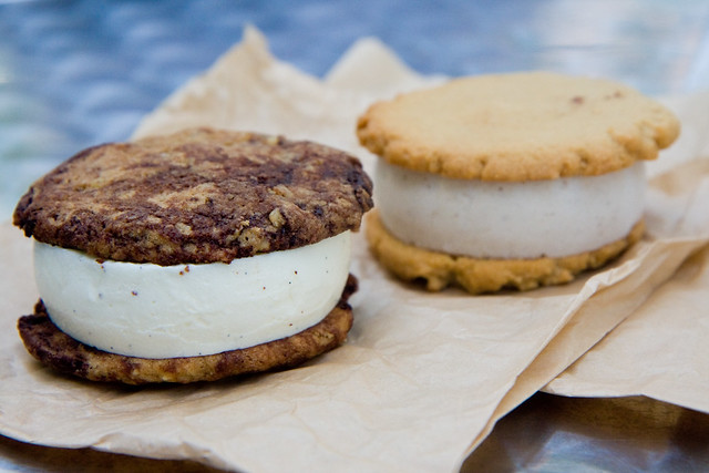 Classic (vanilla ice cream with chocolate chip walnut cookies) and Elvis (banana ice cream with peanut butter cookies), Melt Bakery at Hester Nights