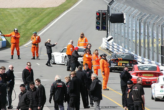 The Ginettas return to the pit lane at the 2012 BTCC event at Donington Park in April 2012