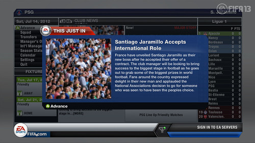 International Offer News Flash - FIFA 13 Career Mode