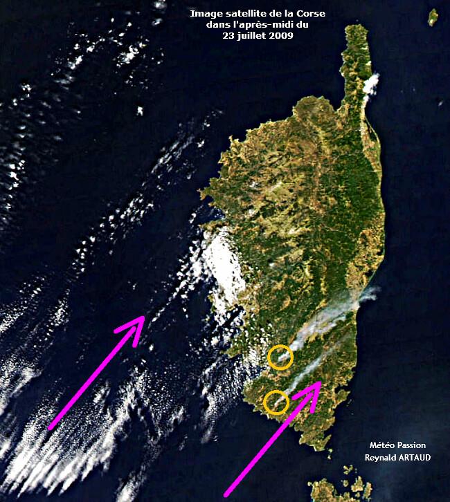 image satellite de la Corse dans l'après-midi caniculaire du 23 juillet 2009 météopassion Reynald ARTAUD