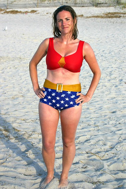 wonder woman on the beach