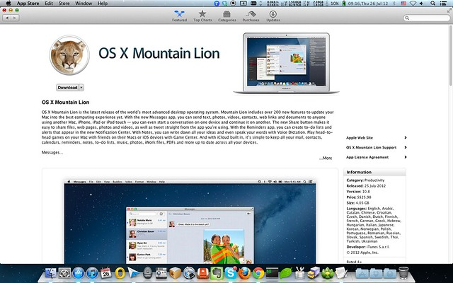 Mac App Store - OS X Mountain Lion