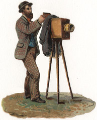 Photographer with View Camera - Victorian Die-cut Chromolithograph Scrap