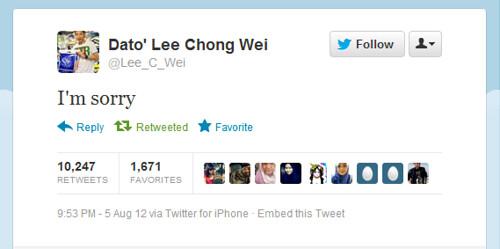 Tweet Lee Chong Wei Minta Maaf