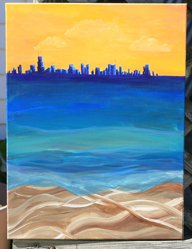 Chicago Skyline from Indiana Dunes Abstract by MichellePendergrass