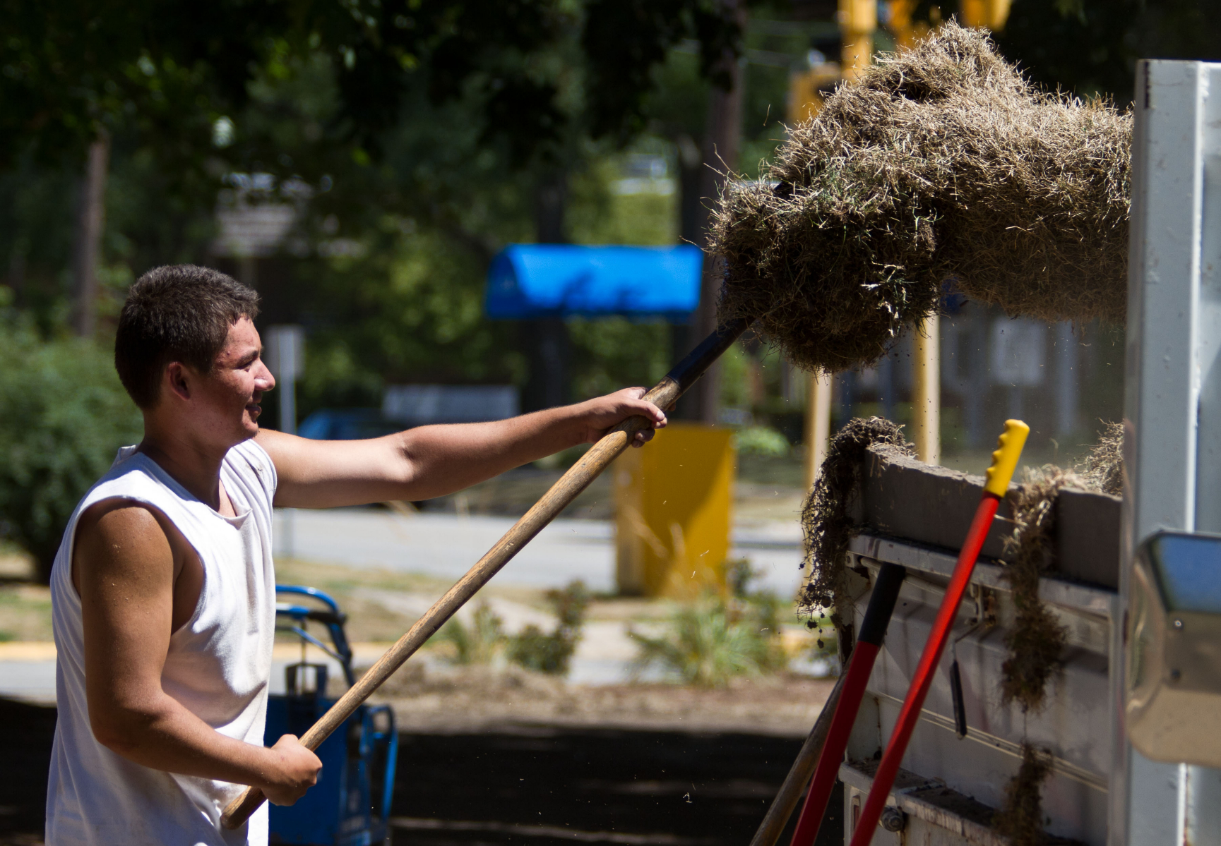 Maintenance worker removes sod at Ingersoll House.