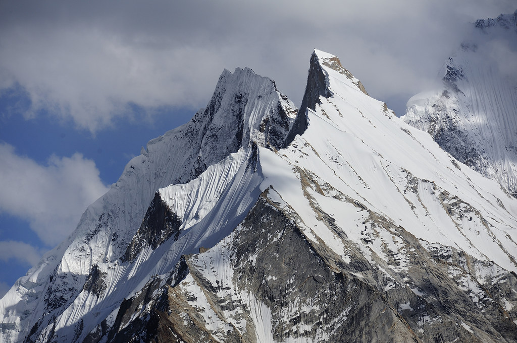Peaks 6350 and 6230 on the north-ridge of Khumul Gri, Vigne glacier