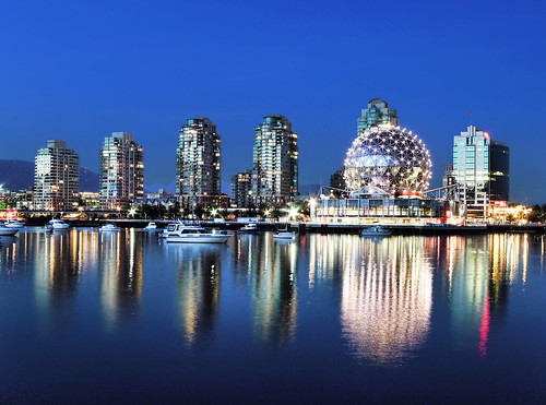 canada reflection architecture modern vancouver bluehour