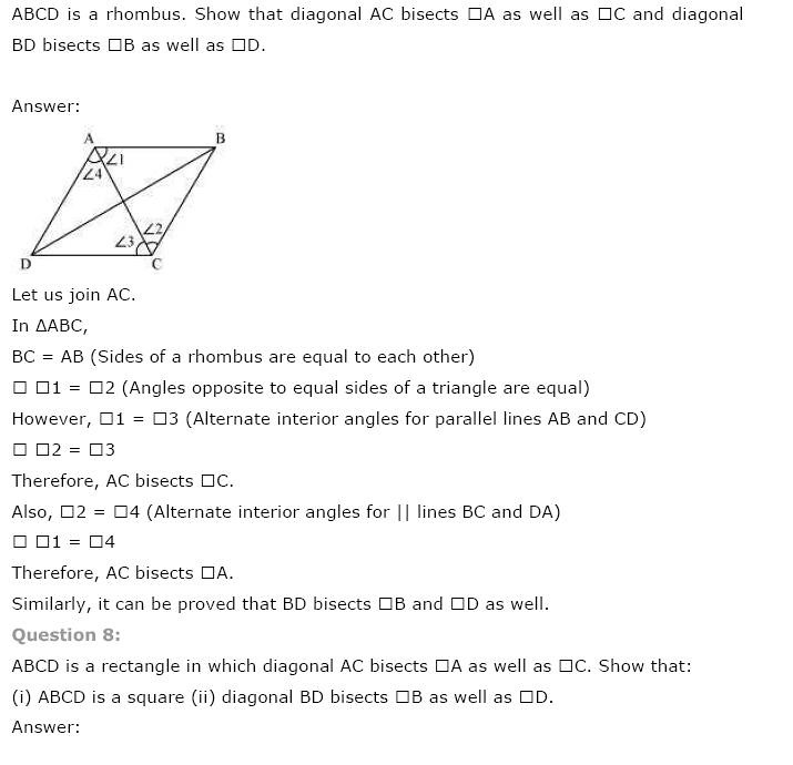 NCERT Solutions For Class 9 Maths Solutions Chapter 8 Quadrilaterals PDF Download