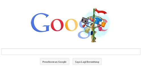 Desain dekoratif di halaman utama Google pada 17 Agustus 2011
