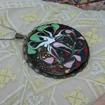 sterling silver swirled enamel pendant necklace