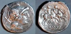 RRC 062/1 rostrum tridens Roma Dioscuri Denarius, extremely rare curved visor early rostrum tridens type, Italy 214-208BC