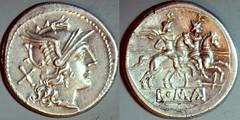 RRC 117/A1 Rudder Roma Dioscuri Denarius. Rome 206-195BC.