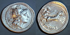 197/1a Anonymous Roma Victory holding a goad, in a biga of horses, Denarius. Rome 157-156BC. Marvellous flan.