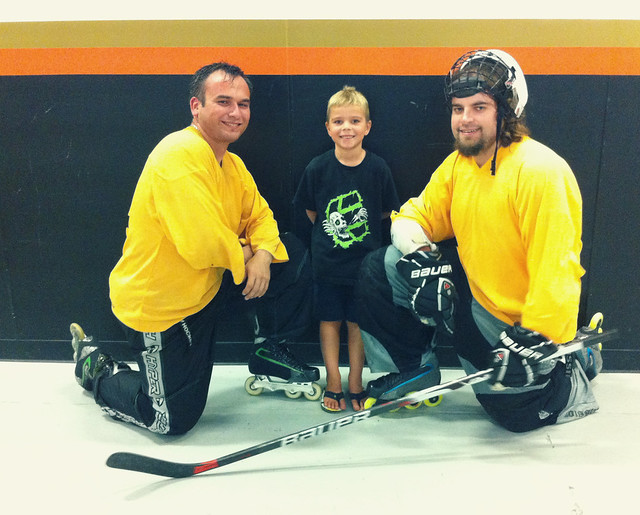 Hockey with his heroes!