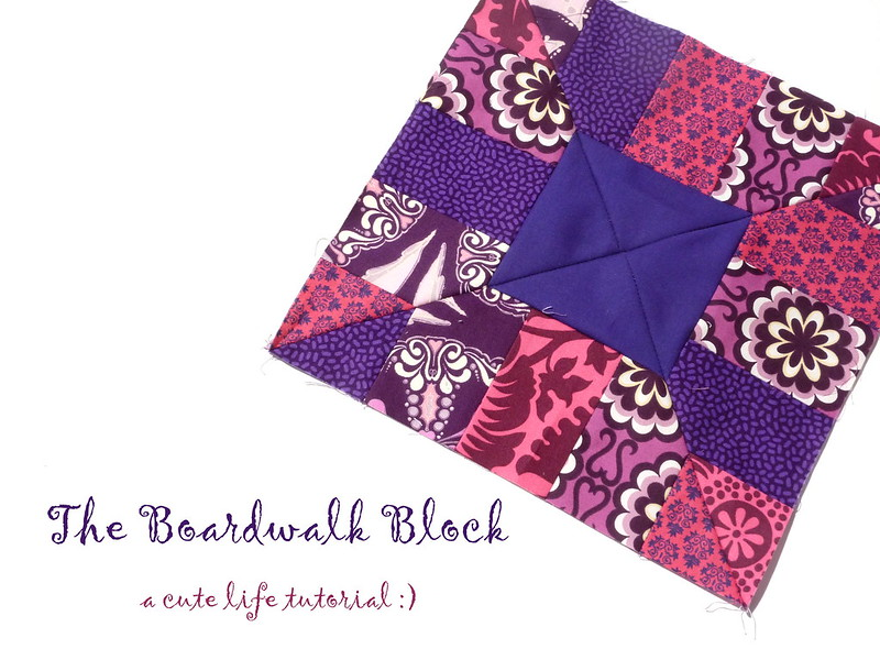 purple + mustard quilt blocks