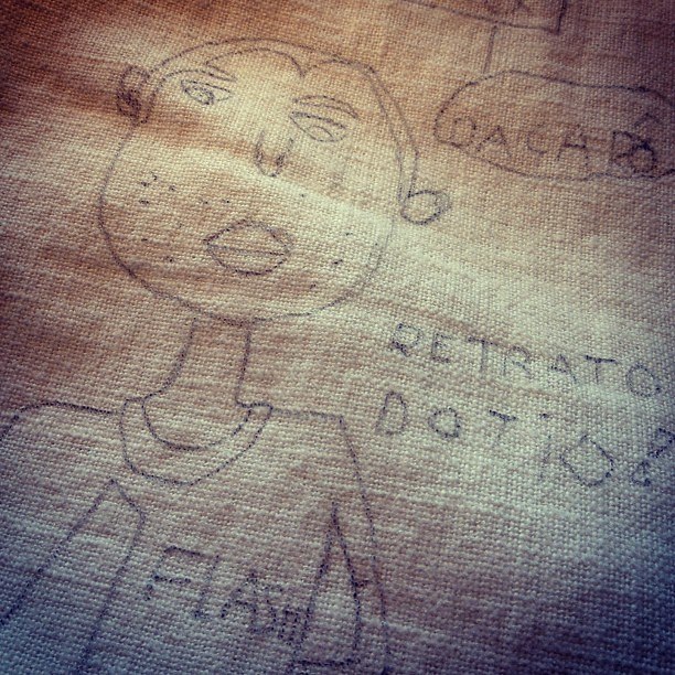 I'll be embroidering this fabulous portrait my 7yo niece made of us. :)