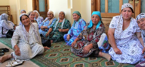 Retired teachers visiting Khast Imam Mosque, Tashkent