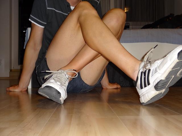 Short shorts & shaved legs