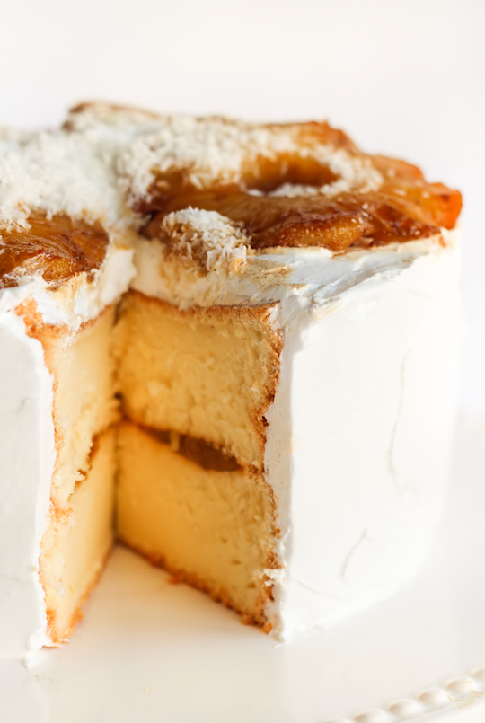 Coconut Chiffon Cake with Roasted Pineapple