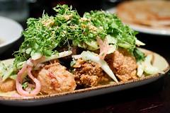 Fried pork and crispy oyster salad
