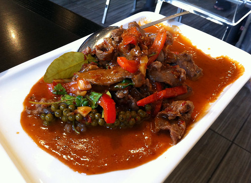 Stir-fried beef with chili paste, young peppercorn, and galangal