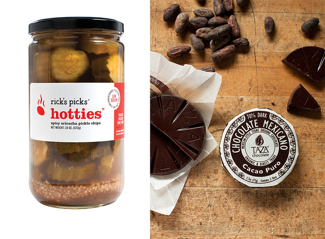 From left: Rick's Picks pickles; Oaxacan stone-ground chocolate from Taza Chocolate. Right photo by Michael Piazza.