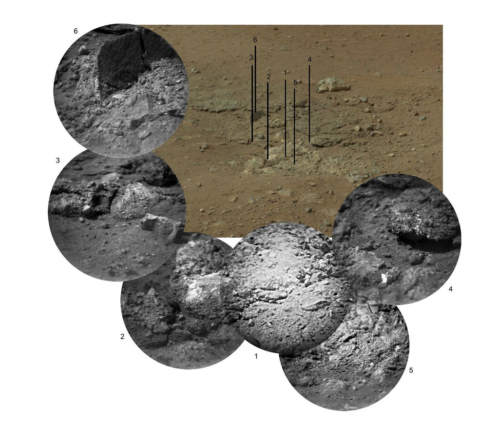 This photo mosaic shows the scour mark, dubbed Goulburn, left by the thrusters on the sky crane that helped lower NASA's Curiosity rover to the Red Planet. It is located 16 to 20 feet (5 to 6 meters) to the left of the rover's landing position. The sky crane appears to have uncovered an outcrop of loosely consolidated rocks during the rover's landing.   The mosaic consists of six images from the remote micro-imager (RMI) on the Chemistry and Camera (ChemCam) instrument, shown around an image from the Mast Camera for context. Each RMI image has a field of view of 4 to 5 inches (10 to 12 centimeters) across and shows details as small as 0.02 to 0.03 inches (0.5 to 0.6 millimeters). ChemCam's laser was used to analyze material at the centers of panels 2, 3 and 4.  PHOTO CREDIT: NASA/JPL