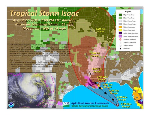 Tropical Storm Isaac - August 27, 2012 as of 2pm EDT