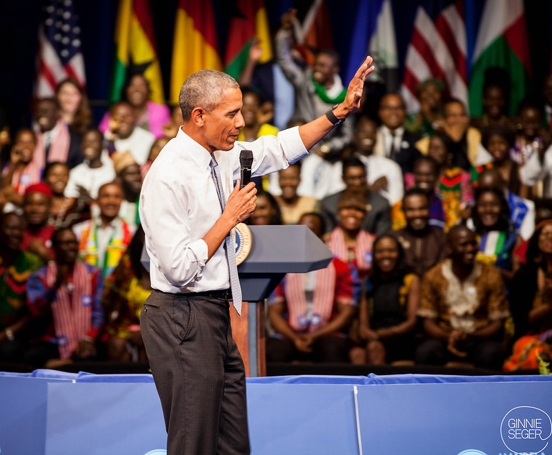 President Obama addresses the Mandela Washington Fellows at the YALI presidential summit.