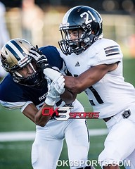 Steele's Jayden Jackson (21) tackles O'Connor's Nathan Burge (82). OK3Sports coverage from the Steele Knights and O'Connor Panthers football game played in San Antonio, TX. on Saturday, September 10, 2016. Knights defeated the Panthers 45-24. #ok3sports #