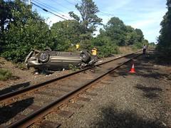 Car Flipped Near LIRR Tracks