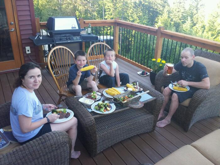 Steaks on the back deck after a 5hr ride