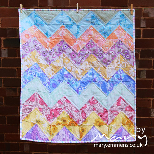 Chevron quilt made with vintage sheets