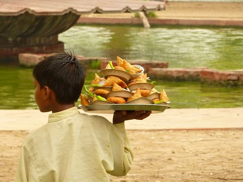 Selling snacks at India gate in Delhi