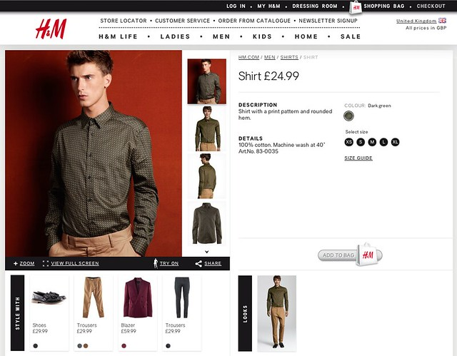 Product page on the H&M website