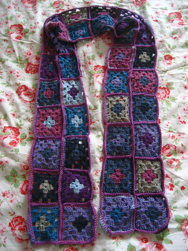 Purple squares student scarf