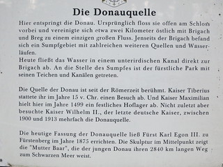Information sign at Donauquelle near Stadtkirche St. Johann Donaueschingen.