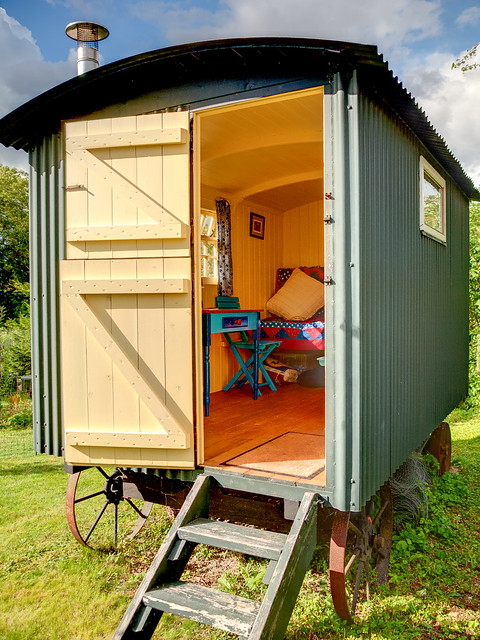 A shepherd's hut used as a summerhouse