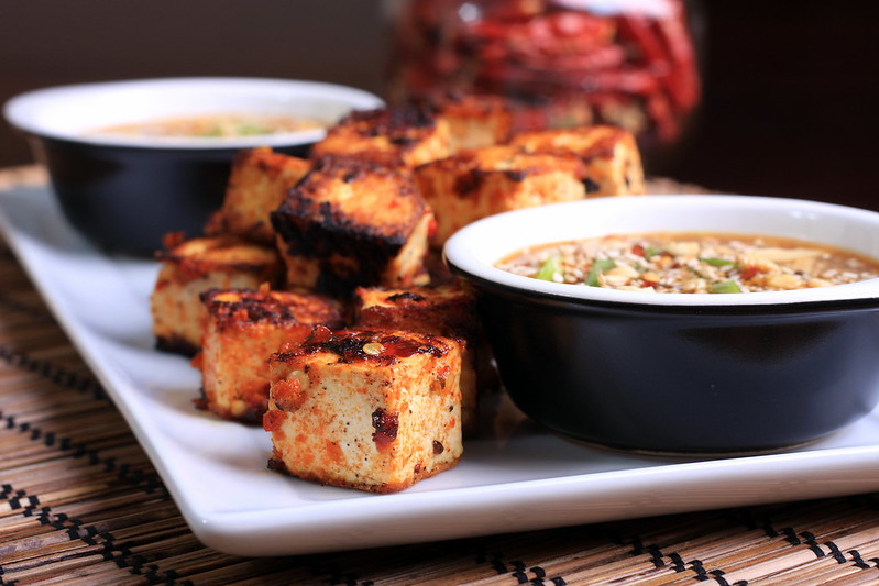 Grilled Sambal Oelek Tofu with Peanut Butter Sauce