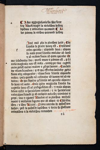 Ownership inscription in Albertus Magnus [pseudo-]: Liber aggregationis, seu Liber secretorum de virtutibus herbarum, lapidum et animalium quorundam
