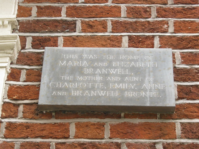 Photo of Anne Carne, Thomas Branwell, Maria Branwell, and Elizabeth Branwell grey plaque