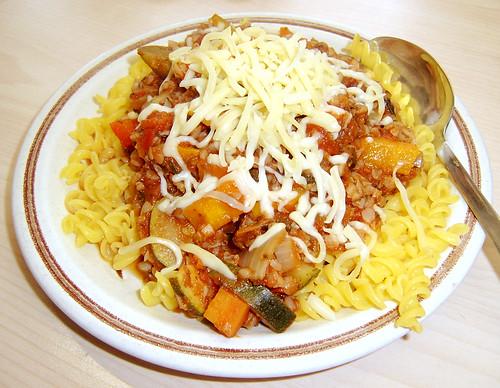 Veggie Ragu, gluten free pasta and cheese