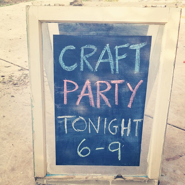 Day 68: Built a sandwich board out of old windows for tomorrow's #craftparty, you like? @etsy @steet @penningtonpoint