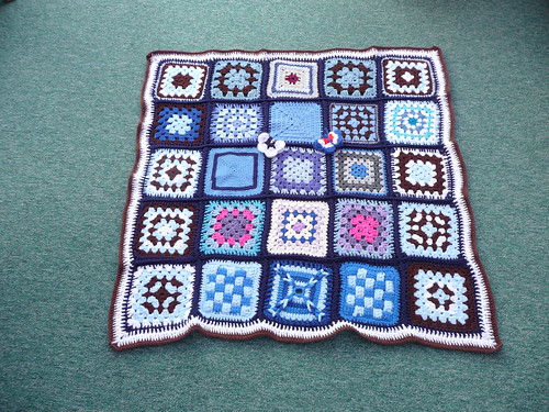 Thanks 'The Wool Stop' for assembling this blanket for me. Thanks everyone for contributing squares!